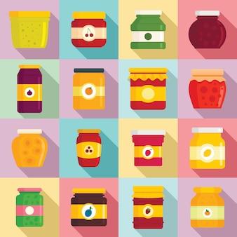 Conjunto de iconos de mermelada, estilo plano