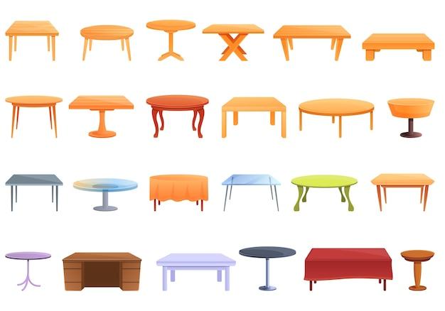 Conjunto de iconos de mesa. conjunto de dibujos animados de iconos de mesa para web