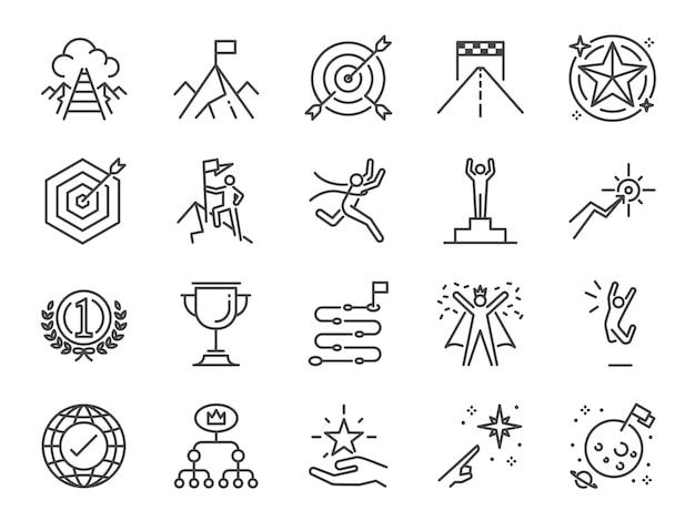 Conjunto de iconos de meta y logro