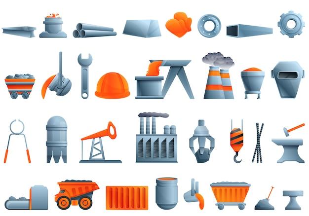 Conjunto de iconos de metalurgia, estilo de dibujos animados