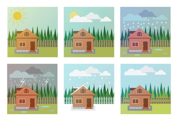 Conjunto de iconos meteorológicos, ilustración de la casa, madera y fenómenos meteorológicos.