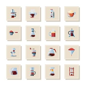 Conjunto de iconos con métodos de preparación de café, diseño de ilustraciones vectoriales