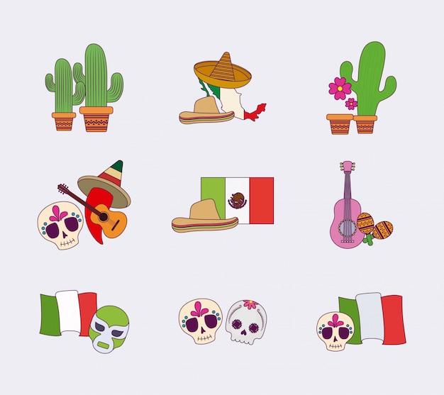 Conjunto de iconos mexicanos coloridos aislados