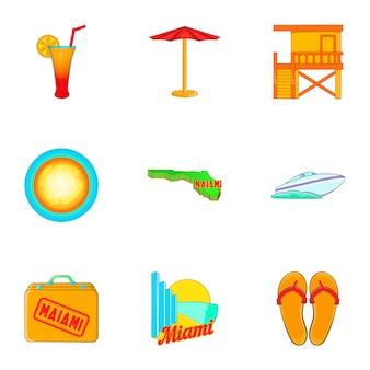 Conjunto de iconos de miami, estilo de dibujos animados