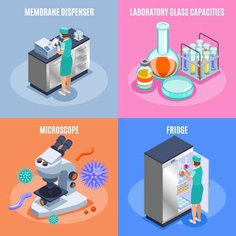 Conjunto de iconos de microbiología isométrica de cuatro cuadrados con dispensador de membrana, laboratorio, capacidades de vidrio, microscopio y refrigerador, descripciones, ilustración