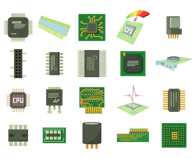 Conjunto de iconos de microchips