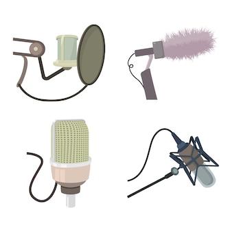 Conjunto de iconos de micrófono de estudio