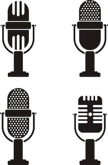 Conjunto de iconos de micrófono negro