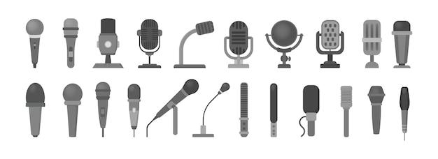 Conjunto de iconos de micrófono. tecnología de audio, símbolo de registro musical. signo de estudio de sonido. ilustración con estilo