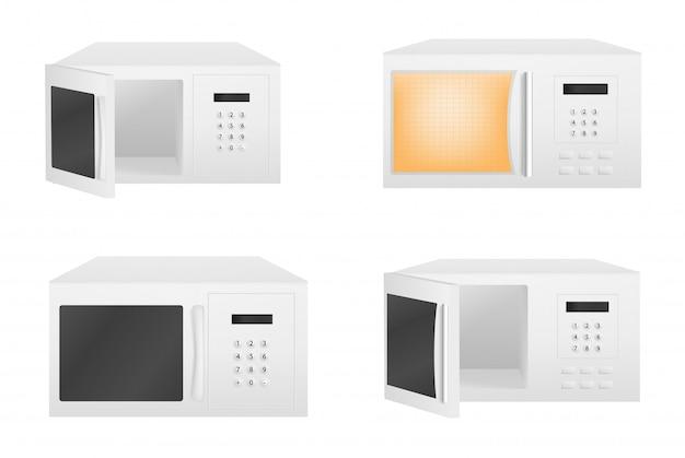 Conjunto de iconos de microondas, estilo realista