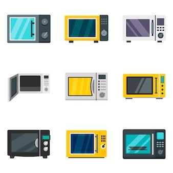 Conjunto de iconos de microondas