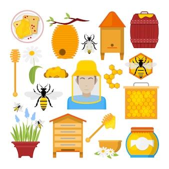 Conjunto de iconos de miel con abeja, apicultor, panal. comida orgánica saludable.