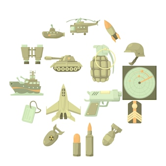 Conjunto de iconos militares, estilo de dibujos animados