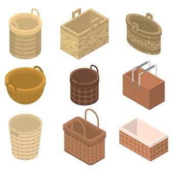 Conjunto de iconos de mimbre, estilo isométrico