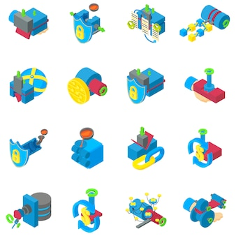 Conjunto de iconos de minería cibernética, estilo isométrico