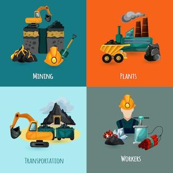 Conjunto de iconos de minería