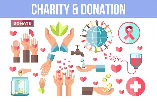 Conjunto de iconos minimalistas aislados con temas de caridad y donación