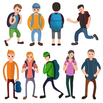 Conjunto de iconos de mochila, estilo de dibujos animados