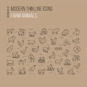 Conjunto de iconos modernos delgada línea de animales de granja aislada