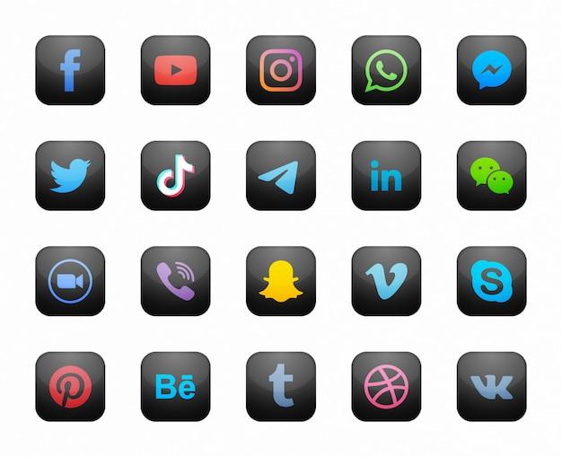 Conjunto de iconos modernos negro cuadrado de redes sociales