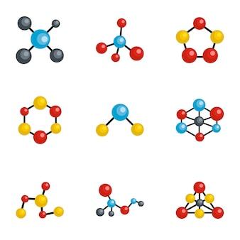 Conjunto de iconos de molécula, estilo de dibujos animados