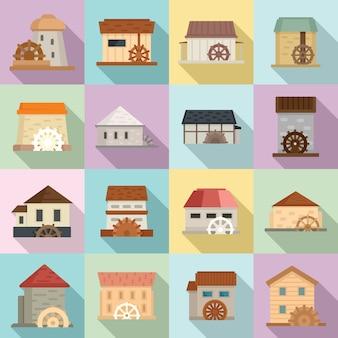 Conjunto de iconos de molino de agua