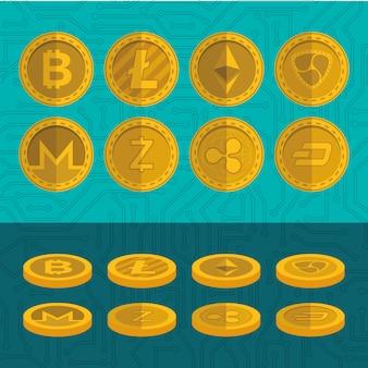 Conjunto de iconos de monedas virtuales