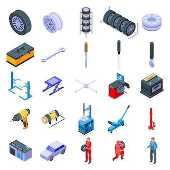 Conjunto de iconos de montaje de neumáticos