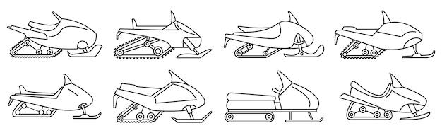 Conjunto de iconos de motos de nieve de montaña