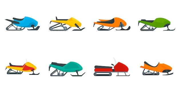 Conjunto de iconos de motos de nieve
