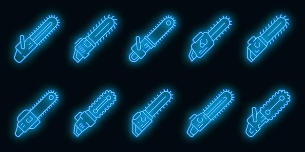 Conjunto de iconos de motosierra. esquema conjunto de iconos de vector de motosierra color neón en negro