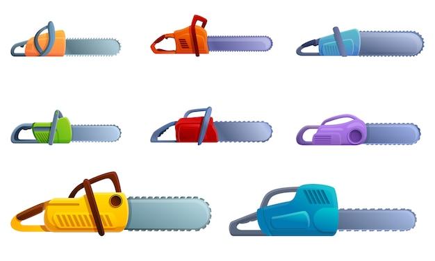 Conjunto de iconos de motosierra, estilo de dibujos animados