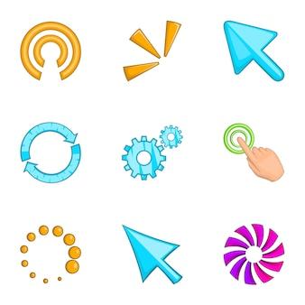 Conjunto de iconos de mouse de puntero, estilo de dibujos animados