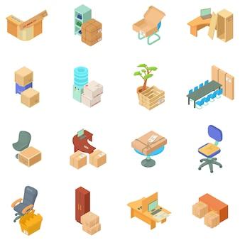 Conjunto de iconos de movimiento de oficina