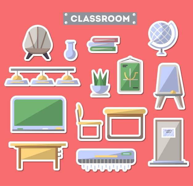 Conjunto de iconos de muebles de aula escolar