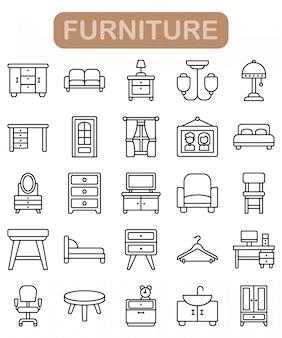 Conjunto de iconos de muebles, estilo de contorno