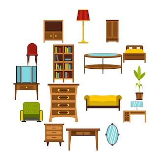 Conjunto de iconos de muebles, estilo plano