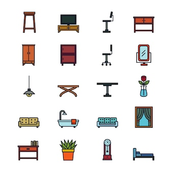 Conjunto de iconos de muebles