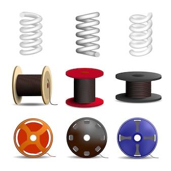 Conjunto de iconos de muelle helicoidal. conjunto realista de iconos de vector de resorte de bobina para diseño web aislado sobre fondo blanco