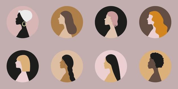 Conjunto de iconos de mujeres de diferentes etnias con varios colores de piel y cabello