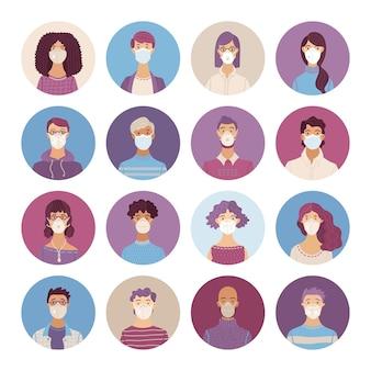 Conjunto de iconos de mujeres y hombres con máscaras médicas y respiradores