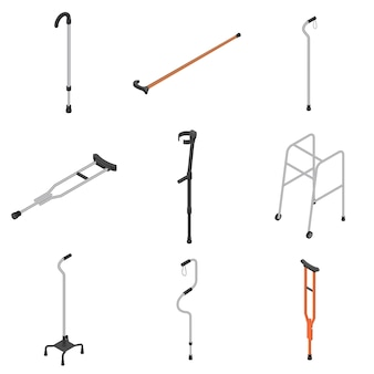 Conjunto de iconos de muletas, estilo isométrico