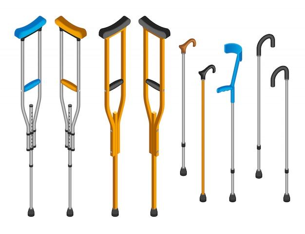 Conjunto de iconos de muletas de lesiones. conjunto isométrico de muletas de lesiones.