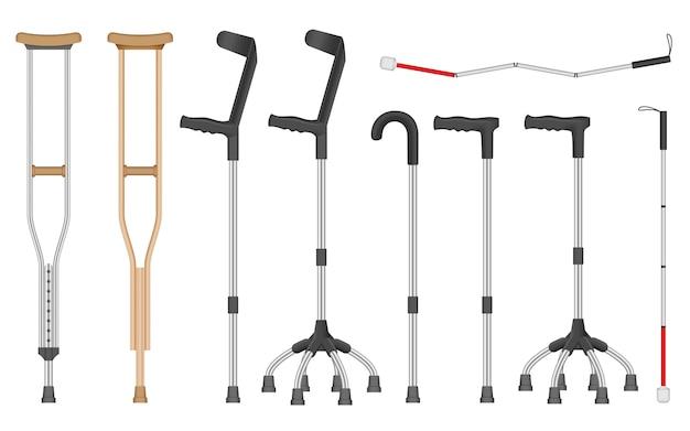 Conjunto de iconos de muletas