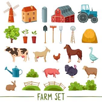 Conjunto de iconos multicolores de granja