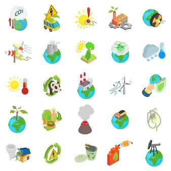 Conjunto de iconos de mundo ecológico