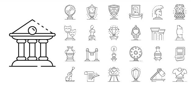 Conjunto de iconos de museo, estilo de contorno