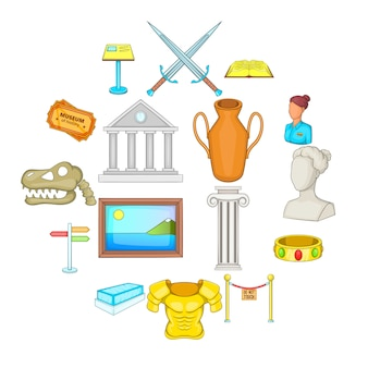 Conjunto de iconos de museo, estilo de dibujos animados