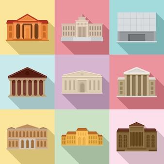 Conjunto de iconos de museo de teatro, tipo plano