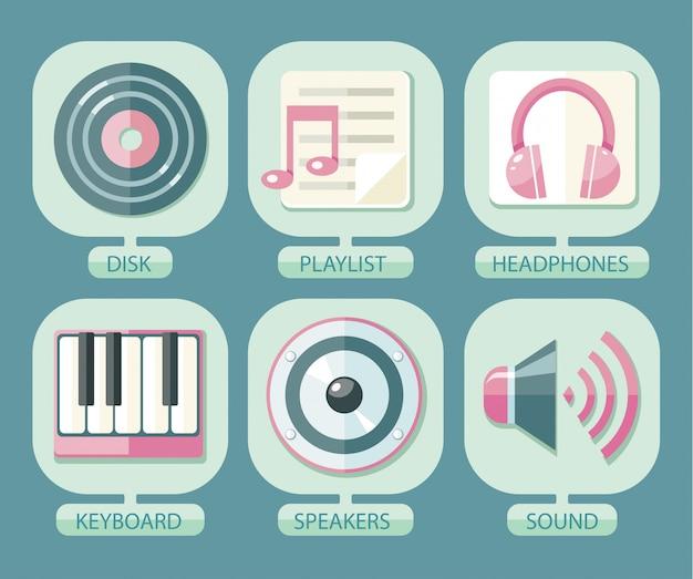 Conjunto de iconos de música para aplicación.